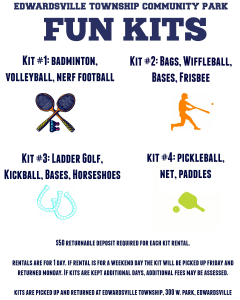 An info-graphic detailing what games and activities are located in each of the four fun kits available for rental from the Edwardsville Township office.