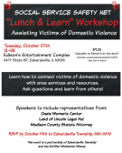 Social Service Safety Net Lunch & Learn Workshop flyer with date ,time, location and cost; theme is domestic violence