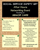 Social Service Safety Net After Hours Networking Flyer with date, time, and location information