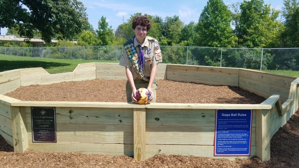 PHOTO - BOY SCOUT BUILDS GAGA BALL PIT AT EDWARDSVILLE TOWNSHIP COMMUNITY PARK